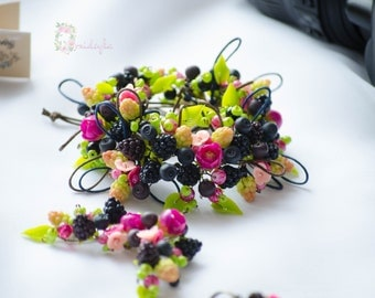 Berry bracelet Polymer clay berry bracelet Polymer clay bracelet Berry ranunculus bracelet Berry flower bracelet Blackberry Raspberry