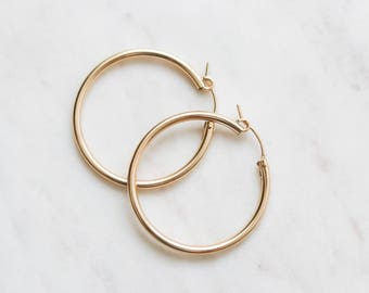Thick Hoop Earrings - Gold Filled Earrings - 36mm Gold Hoop Earrings - Minimalist Jewelry - Big Gold Hoops - Gift for Her - Christmas Gift