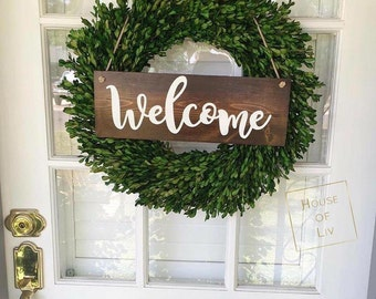Welcome Sign - Welcome Wreath Sign - Welcome Wood Sign - Housewarming Gift - Front Door Sign - Hanging Welcome Sign - Front Porch Sign -