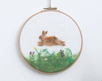 Hoop Art, Needle Felted Rabbit, Wool Painting, Felt Embroidery, Nursery Decor, Cute Bunny, Baby Gift, Hand Embroidered, Wool Painting, OOAK