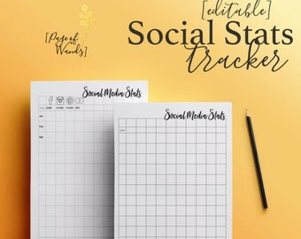 Editable Social Media Stats Tracker -- A4 & A5 Yearly -- Planner Page -- Month by Month -- Record -- Goal Tracker -- Business Bullet Journal