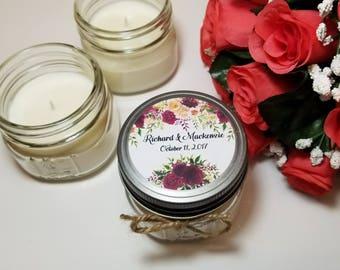 12 - 4 oz Wedding Candles - Wedding Favors - Rustic Wedding Candle - Floral Wedding Favor - Bridal Shower Favors - Wedding Thank You