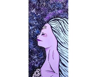 Alien Girl Painting, Original Art, Acrylic on Paper, Acrylic Painting, Galaxy Art, Galaxy Decor, Alien Art, Alien Decor