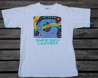 Vintage 80's / 90's Newport Beach, California super colourful white t-shirt Made in USA XL