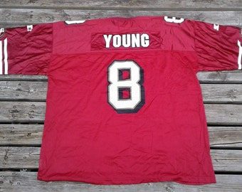 Vintage 90's Starter Steve Young #8 San Francisco 49ers mesh red football jersey Made in Canada XXL