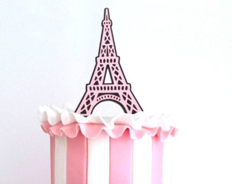 Eiffel Tower Cake Topper, Cupcake Toppers /Choose Any Color/ Food Picks, Paris Theme, Parisian Party