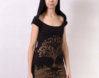 TREE OF LIFE Dress - Hoodie Dress Hippie Top, Hippie Maxi Dress, Festival Clothing, Long Dress, Boho Dress, Psytrance Dress