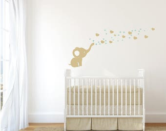 Vinyl sticker wall sticker childrens • elephant with custom name and colors