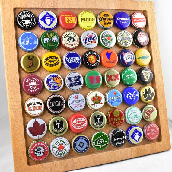 Bottle cap frame cherry wood beer bottle cap display for Beer bottle picture frame