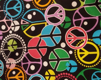 Spandex Polyester by the yard - Multi Peace Sign