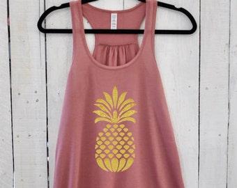 Glitter Pineapple, flowy tank top