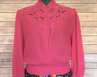 Pink Blouse | Summer Shirt | 80s Blouse | Pink Shirt | Pink Shirt Women's | Blouson | Vintage Shirt Women | 80s Clothing Women | Party Wear