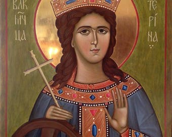 Saint Great Martyr Catherine Katerina Byzantine icon Orthodox icon  egg tempera