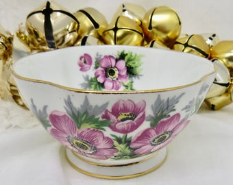 Windsor Pink Floral Open Sugar Bowl, Vintage 1950s, Replacement China