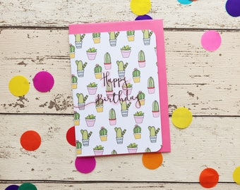 Cute Cactus Happy Birthday Greetings Card | Birthday Card | Blank Inside