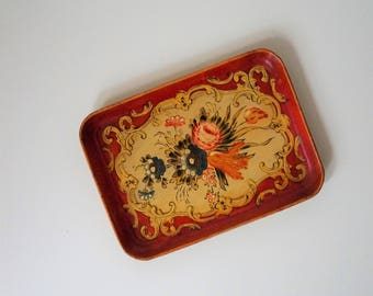vintage paper mache tray - made in japan - kitschy decor - vintage kitsch - floral tray - 1950s japanese paper mache tray - a.l. inc. n.y.