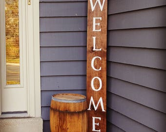 Welcome Sign, Wooden Porch Welcome Sign, Vertical Welcome Sign, Entryway Sign, Garden Sign