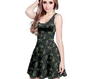 Cactuar Dress - Final Fantasy VI Dress Skater Dress Cosplay Dress Comicon Dress Videogame Dress Bikanel Island Dress Cactaur Dress