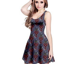 Kingdom Hearts Crest Dress - Skater Dress Videogame Dress Heartless Dress Plus Size Dress Cosplay Dress Kingdom Hearts Dress Oddity Apparel