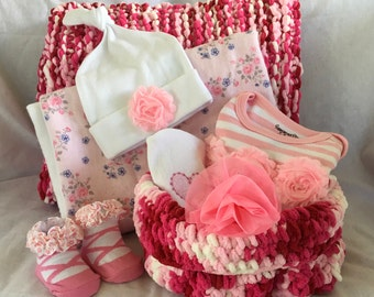 Shades of pink - New baby girl shower or welcome home gifts in shades of pink - FREE SHIPPING