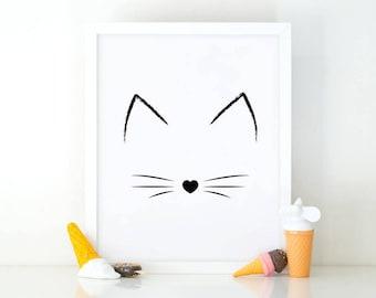 Cat print, Meow print, cats wall art, printable wall art, room decor, cat lover, cute wall art, nursery wall art, Cat lover poster, wall art