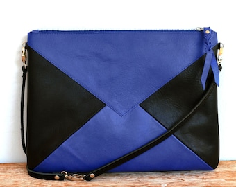 """Large pouch leather with black and electric blue shoulder """"WARNA"""""""