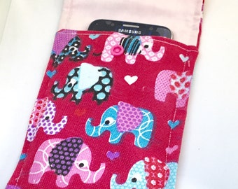 Elephant phone case, iphone case, smartphone  sleeve, phone pouch, elephant gift, gadget case, phone accessory, gift for her