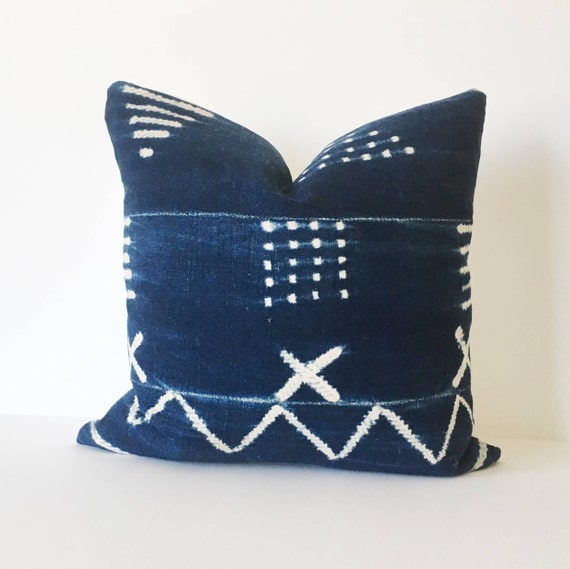 18 x 18 Indigo Abstract Pattern Pillow Cover