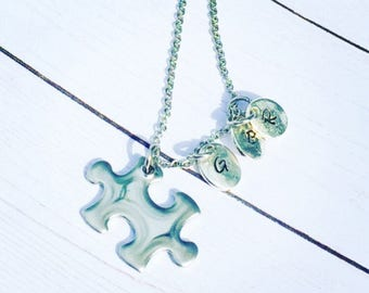 Autism Awareness Jewelry, Autism Initial Necklace, Handstamped Initial Necklace, Puzzle Piece Jewelry, Puzzle Piece Necklace, Personalized
