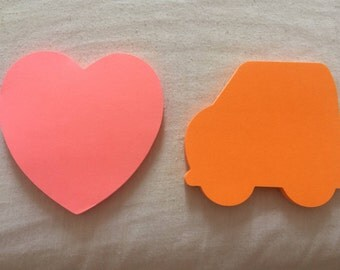 Lovely mini sticky notes - car and heart