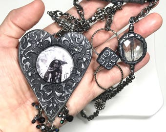 Raven Pendant Statement Necklace, Unique Crow Necklace, Raven Art Cabochon Necklace, Gothic Jewelry, Beaded Necklace, Gift For Her, Victoran