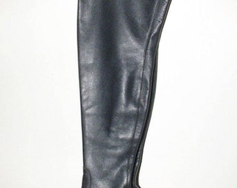 Vintage Women's Boots Black Leather Knee Length British Size 5 1960's Perfect Condition