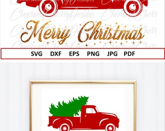Red truck Svg Eps Dxf Merry Christmas SVG for Christmas tree SVG Vector Christmas truck Svg Cricut Christmas truck with tree Svg Vinyl file