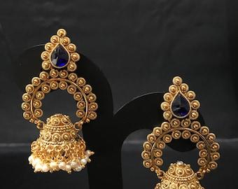 Indian Jewelry - Gold and Blue Jhumka Jhumki Earrings - Pakistani Jewelry - Indian Earrings - Bollywood Jewelry - Indian Wedding Bridal -