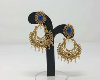 Indian Earrings - Indian Jewelry - Polki Earrings - Kundan Earrings - Bollywood Earrings - Indian Bridal Earrings - Desi Earrings