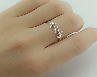 Sterling Silver Antler Ring | Antler Ring | Silver Antler Ring | Deer Antler Ring | Deer Ring | Minimalist Ring | Adjustable Silver Ring