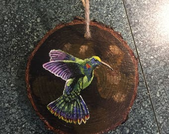 Birds Painting on  Wood Slices