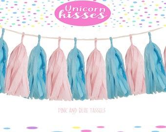 Tissue Tassel Garland  fully assembled -pink-Blue-Paper Modern  Wedding Shower Tassel Decor Balloon Tails,nursery,baby shower,gender reveal