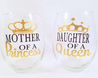 Mother of Princess | Daughter of a Queen | Mother Daughter Gift | Mom Birthday | Daughter Birthday | Mom Gift | Daughter Gift | Mom Daughter