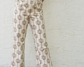 "70's Mod Printed Wide Leg Pants / 26"" / S"