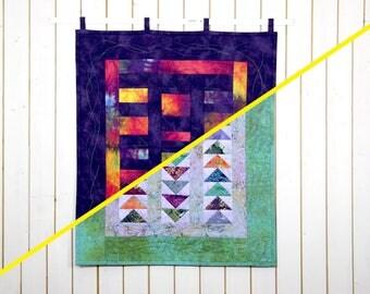 Batik Quilt Patchwork, Batik Wall Art, Batik Wall Hanging, Quilt Wall Hanging, Modern Wall Décor, Abstract Wall Hanging