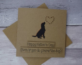 Spaniel Father's Day card, Funny dog card, Happy Father's Day card, Springer Spaniel, Handmade Card for Dad, Recycled Kraft card