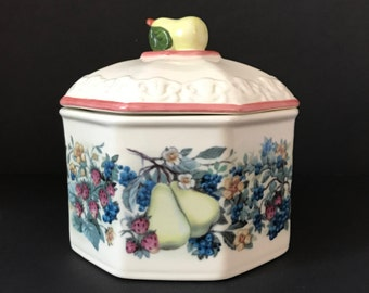 Ceramic Canister - Avon Sweet Country Harvest - Candy Jar - Pet Treats - Vanity Jar - Pears and Fruit - Vintage