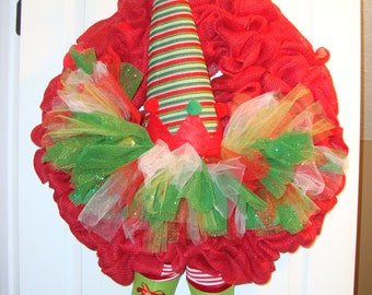Christmas elf wreath, Elf wreath with tutu, Christmas wreath, Christmas burlap wreath, whimsical elf wreath , red burlap christmas wreath,