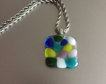 Necklace-Pendant-Glass jewelry-necklace-pendant-gift for woman-gift for women-jewelery-spectrum glass-transparent-with colored speckles