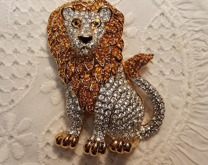 Large Swarovski Lion Brooch Pin Sparkly Goldtone and Pave Stones Amber Clear
