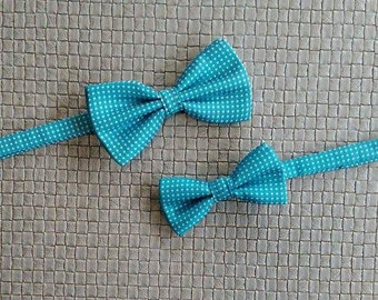 Aqua blue bow ties dad son bow ties aqua polka dot ties men bow tie groomsmen bow tie toddler fathers day gift boy bow tie ring bearer