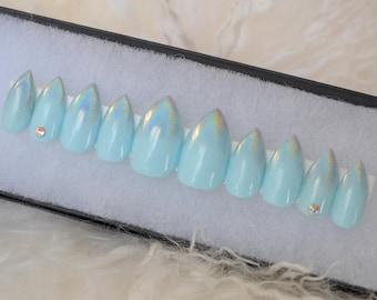 Rainbow holo tipped blue press on nails  | Any size or shape | Fake nails | glue on nails | False nails | Matte nails | Stiletto nails |