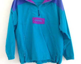 Vintage Columbia Windbreaker// 1980s Columbia Teal Ski Jacket// 80s Windbreaker