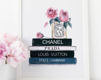 Chanel Print, Fashion Wall Art, Chanel, Louis Vuitton, Coco Chanel, Prada, Dolce and Gabbana, Prada Marfa, Bathroom Vanity, Chanel Bag, Coco
